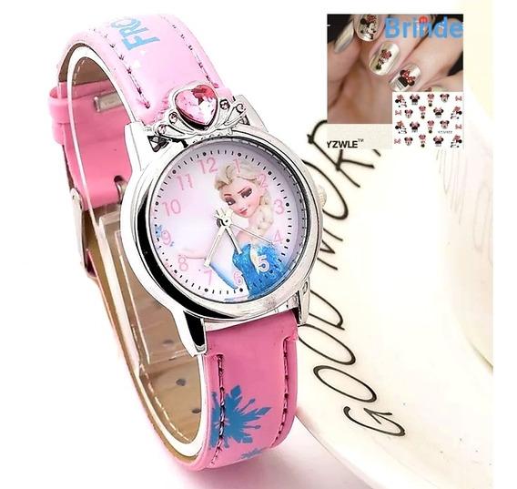 Relógio Infantil Princesa Elsa Frozen Dos Desenhos Animados.