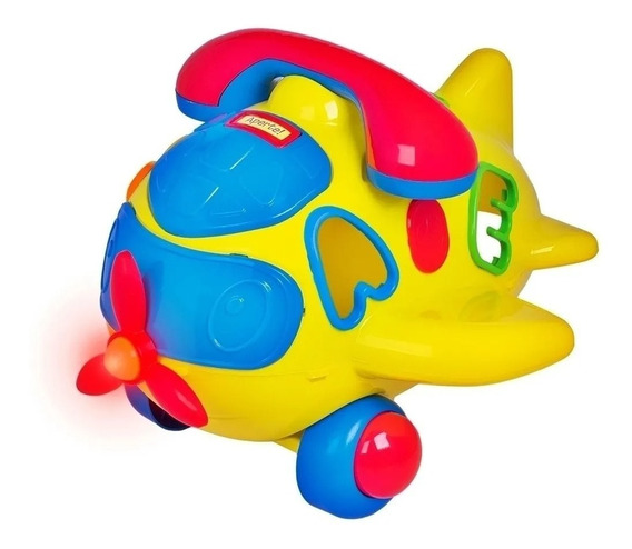 Aviãozinho Play Time Com Som E Luz - Cotiplás Amarelo