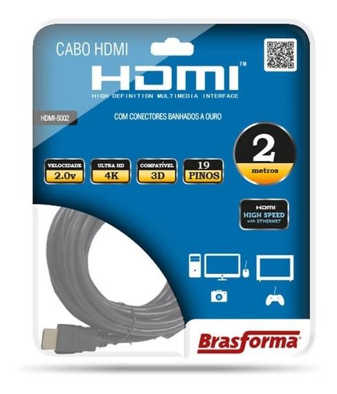 Cabo Hdmi 4k 3d 2 Metros Brasforma Hdmi5002 - Envio Rápido