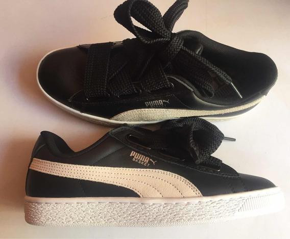 Tenis Puma Basket Heart Patent Negros