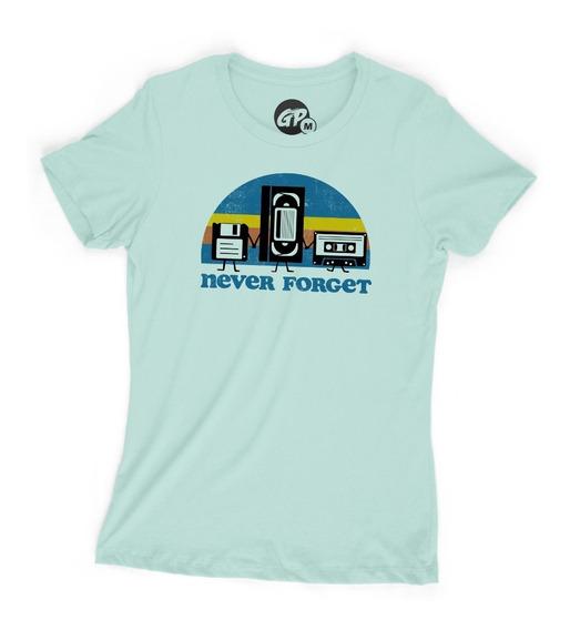 Playera Grapics Never Forget Retro Cassette Vhs Clasico Dama
