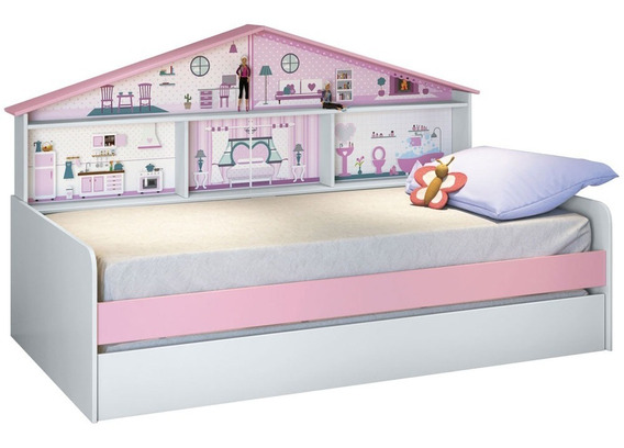 Cama Infantil Com Cama Auxiliar Casa De Boneca Pura Magia