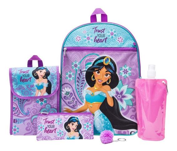 Mochila Escolar Primaria Juvenil Niña Disney Jazmín Kit 5