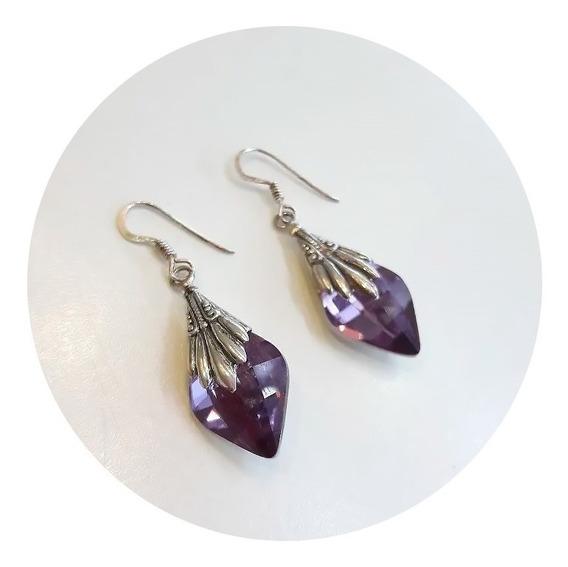 Aros Colgantes De Plata 925 Y Cristal Swarovski Violeta