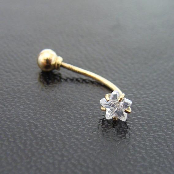 Piercing De Umbigo De Ouro 18k Com Estrela