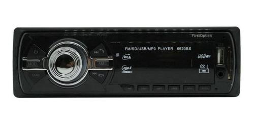 Som automotivo First Option 6620BSC com USB, bluetooth e leitor de cartão SD
