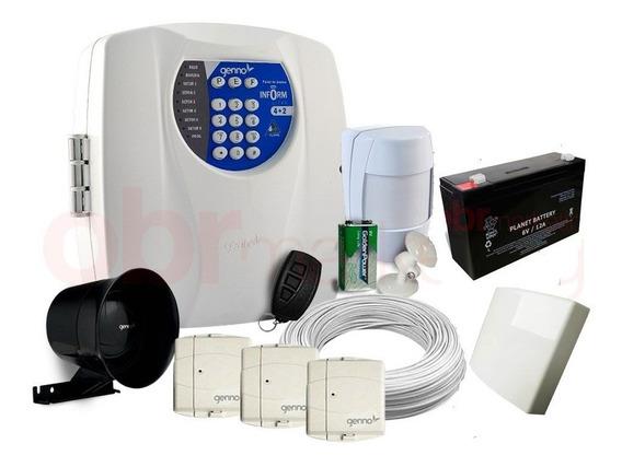 Kit Alarme Central Genno Ultra 4+2 Residencial + Gsm