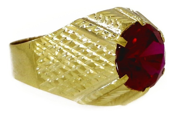 Anel Em Ouro 10k 416 Masculino Pedra Redonda Cores Oferta