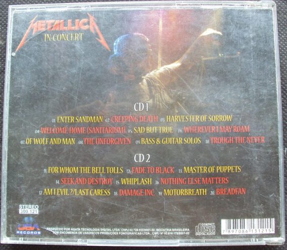 Cd Metallica In Concert - Duplo - Di
