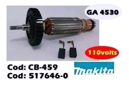 Induzido + Carvão Esmerilhadeira Ga4530 127v Makita 517646-0