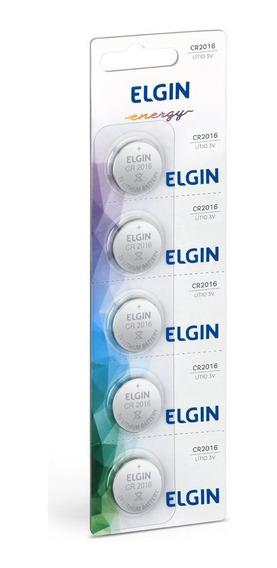 Cartela Com 5 Baterias De Lítio Moeda Elgin Cr 2016 82191