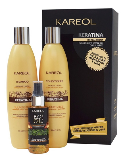 Pack Kareol Keratina Shampoo + Acond 300 + Bio Oil System