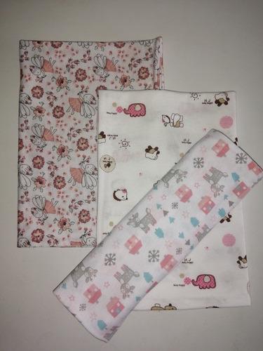 Set De 3 Pañales De Tela De Algodon Pijama Franela  50x50