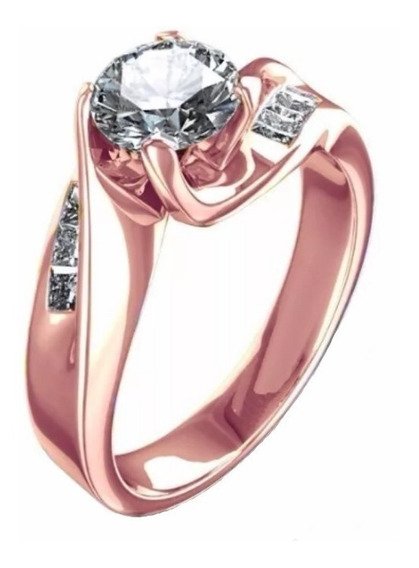 Anillo Oro Rosa 18kt .80ct Diamantes Y Zafiro Blanco Marloz
