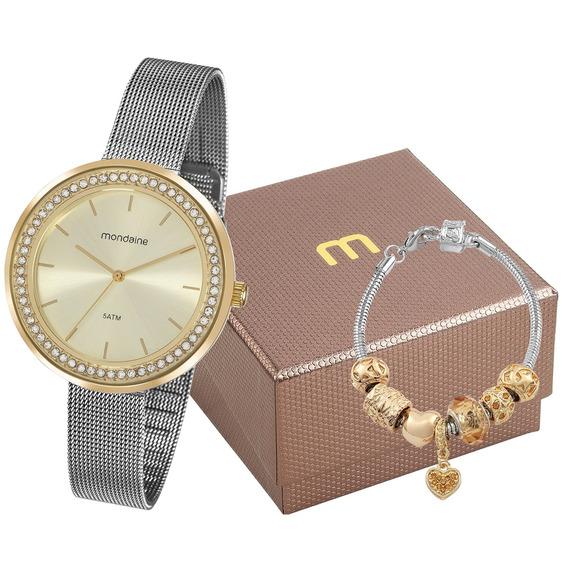 Kit Relógio Mondaine Feminino 53668lpmvbe3k1