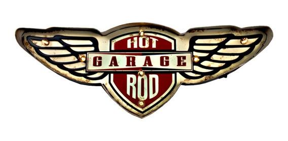 Luminoso Vintage Retrô Metal Led Garagem Americana Decoração