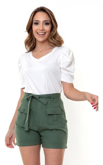 Shorts Kinara Sarja Cintura Alta Com Faixa Verde