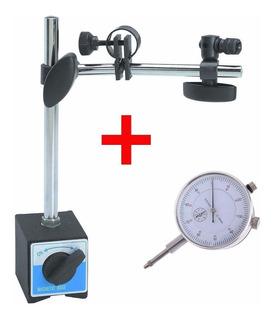 Base Magnética 60kgf Articulada Suporte + Relógio Comparador