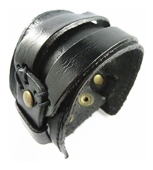 Pulseira Bracelete Couro - Mod Rock Roll 23cm Por 4.5cm