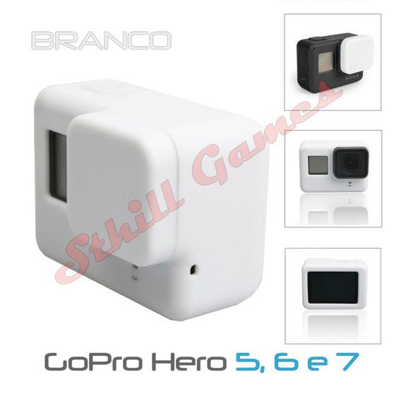 Capa Protetora + Tampa Em Silicone Gopro Hero 5,6 E 7 Branco