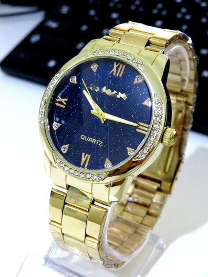 Relógio Feminino Dourado Aço Confortável Gold Original C193