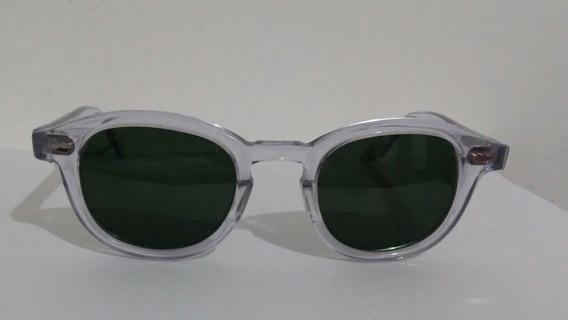 Oculos Moscot Cristal (transparente) Com Lentes Verdes