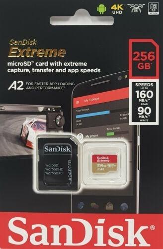 Cartao Microsd 256gb Extreme Sandisk A2 160mb/s Lacrado Samsung Xiaomi Motorola Sony Gopro Mavic Pro Platinum Drone Hero