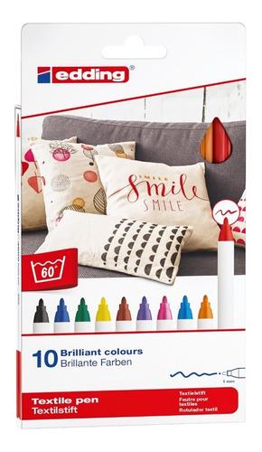 Set Marcador Textil Colores Surtidos Edding 4600 X 10 Uds