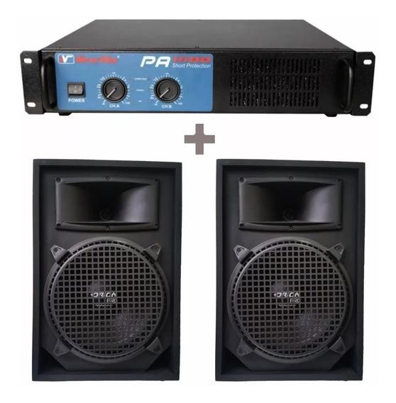 Kit Amplificador Potência Pa1600 + 2 Caixas Acústicas 1000w