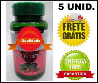 5 Guaraná Com Açaí 60 Cáps De 500mg + Chá De Brinde