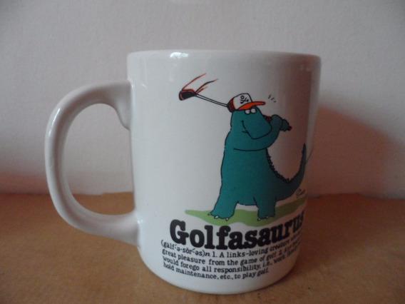 Taza Dinosaurio Golf Souvenir Sport Deportes Cafe Te 1986