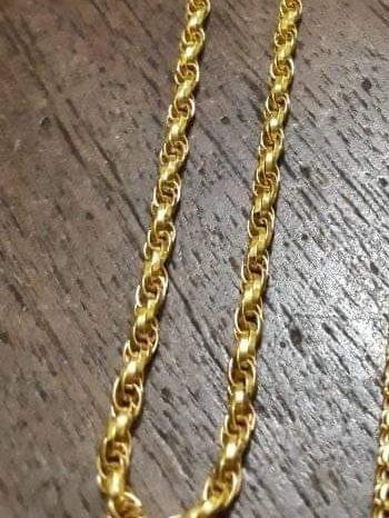 Cordão Modelo Corda, Trançado, Todo Em Ouro 18k Maciço.