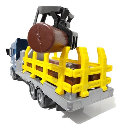 Imagem 1 de 9 de Brinquedo Caminhão Tora De Madeira Com Guindaste Articulado