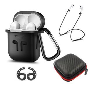 Capa + Itens Silicone Case Fones AirPods Apple - 4 Em 1
