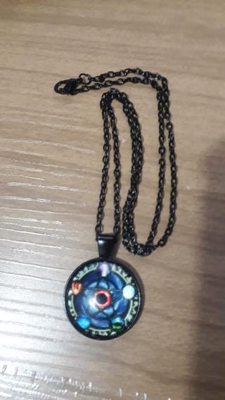 Colar Medalao Elemento Pentagrama Preto