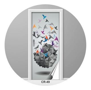 Adesivo Para Porta Origami Pombas Design Criativo Cr-49