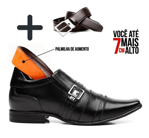 Sapato Masculino Social De Couro Palmilha De Aumento + Cinto