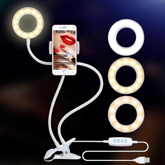 Photo Studio Selfie Led Light Anel Com Cell Phone Mobile Hol