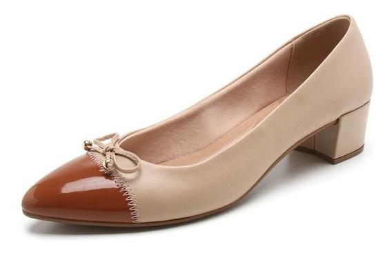 Sapato Feminino Beira Rio Salto Baixo Napa Bege 4222