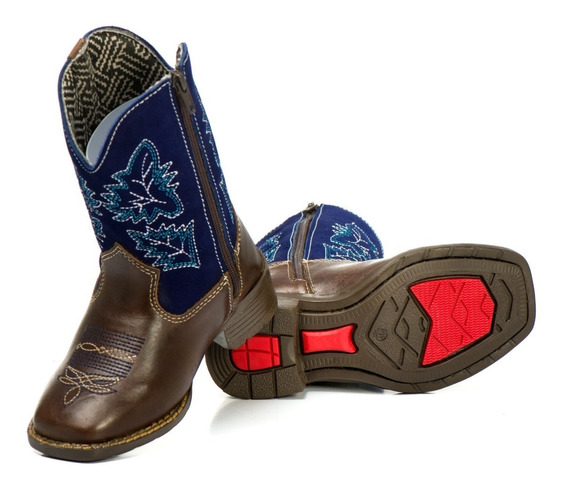 Bota Infantil Texana Couro Country Cano !bordada Cobra