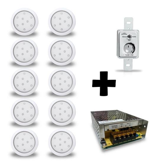 Kit 10 Luminárias Led Azul 9w 12v Piscina + Controle E Fonte