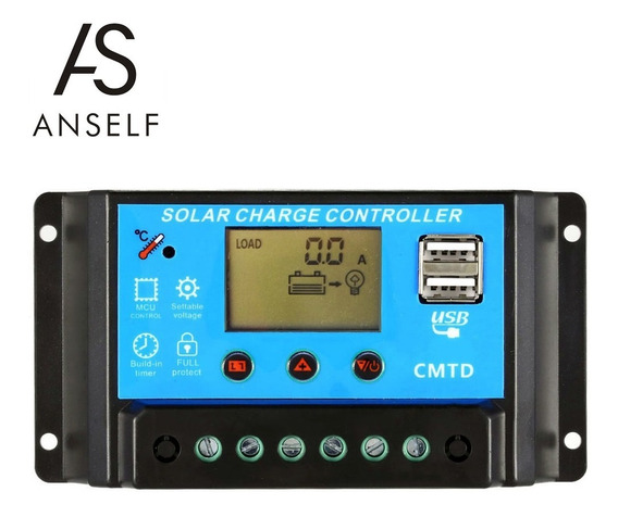 Anself 10a 12v / 24v Lcd Controlador De Carga Solar Com
