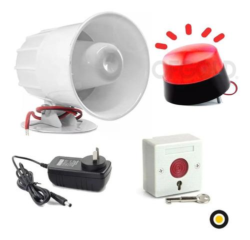 Sirena Exterior Vecinal + Pulsador Emergencia +baliza+fuente