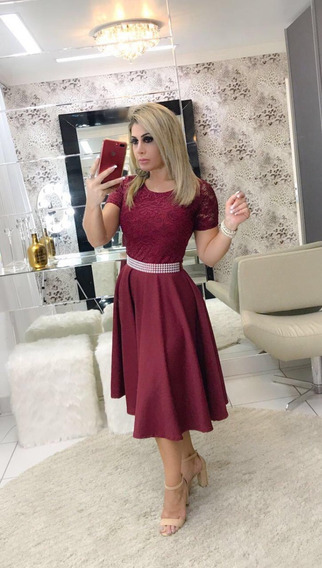 Vestido Feminino Luxo Midi Com Cinto Moda Evangélica