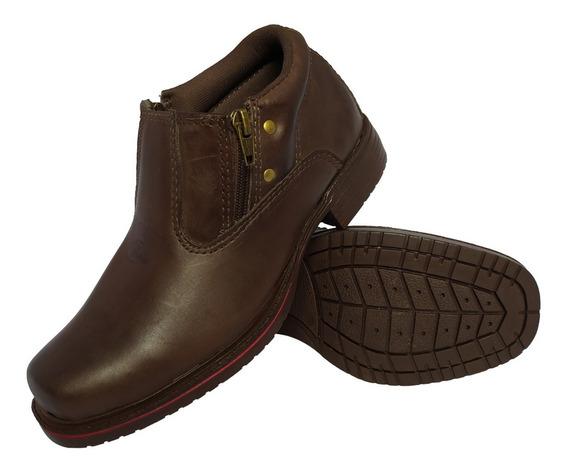 Sapato Botina Casual Social Masculino Ziper Bota Em Couro