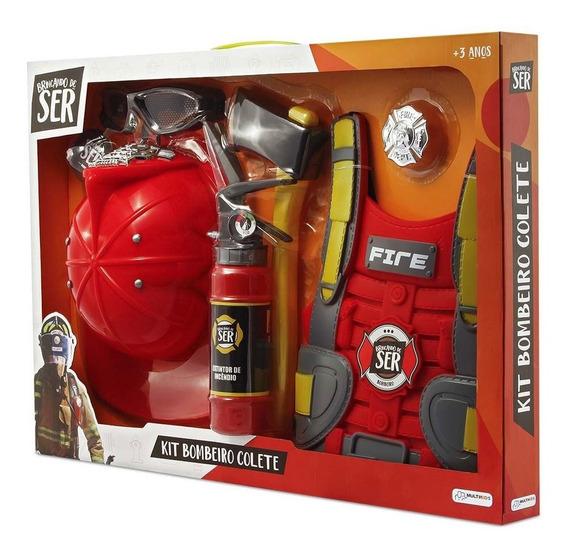 Brincando De Ser Kit Bombeiro Colete Multikids - Br963