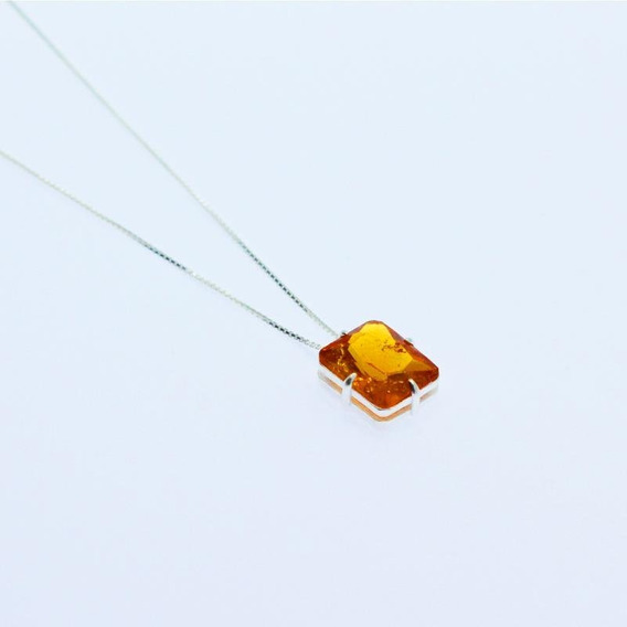 Colar Prata De Lei 925 C/ Pingente Cristal Fusion