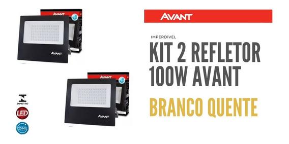Kit 2 Refletor Led Avant 100w Branco Quente