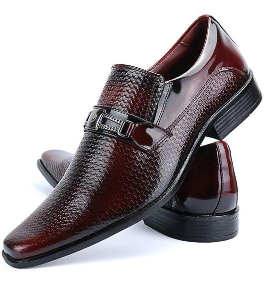 Sapato Social Masculino Clássico Couro Verniz Vermelho