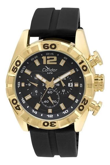 Relógio Preto Masculino Dourado Aço Covd33av/8p Original